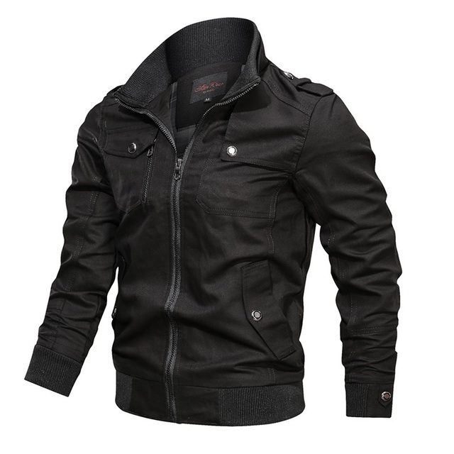 Men Bomber Jackets Multi Pockets Autumn New Casual Mens Military Pilot Coats Solid Stand Collar Cargo Outwear Windbreaker Male