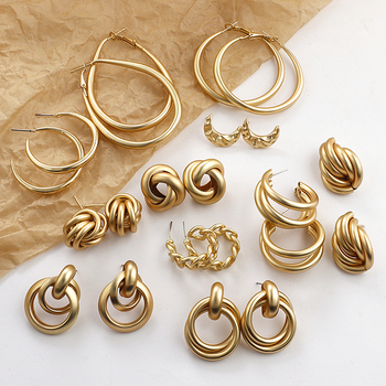 AENSOA 2020 nowe złote kolczyki w kolorze dla kobiet wiele Trendy okrągły geometryczny spadek kreatywne kolczyki Fashion Party biżuteria prezent tanie i dobre opinie CN (pochodzenie) Ze stopu cynku Kobiety 72mm * 45mm Kolczyki w kształcie kółek GEOMETRIC Metal Multiple Alloy Earrings