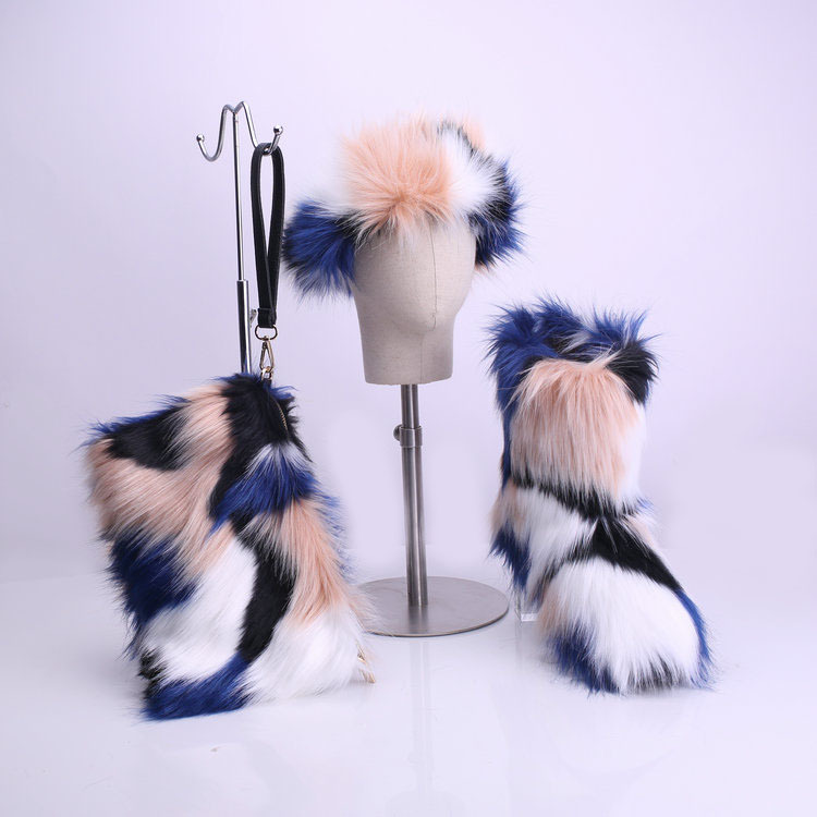 Furry Boots, Headband, and Purse Winter Shoes Set 3