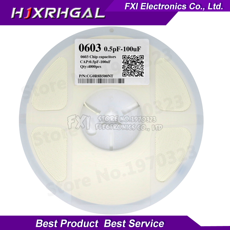 1reel 4000pcs 0603 <font><b>50V</b></font> SMD Thick Film hjxrhgal Chip Multilayer Ceramic <font><b>Capacitor</b></font> 0.5pF-22uF 10NF 100NF 1UF 2.2UF 4.7UF <font><b>10UF</b></font> 1PF image