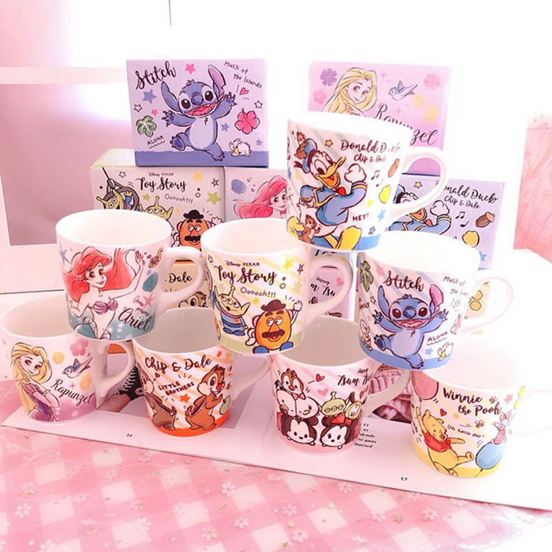 270ml Disney Mickey Stitch Mermaid Cartoon Ceramic Cup With Handle Tea Coffee Water Mug Home Office Cups Collection Cup Gifts