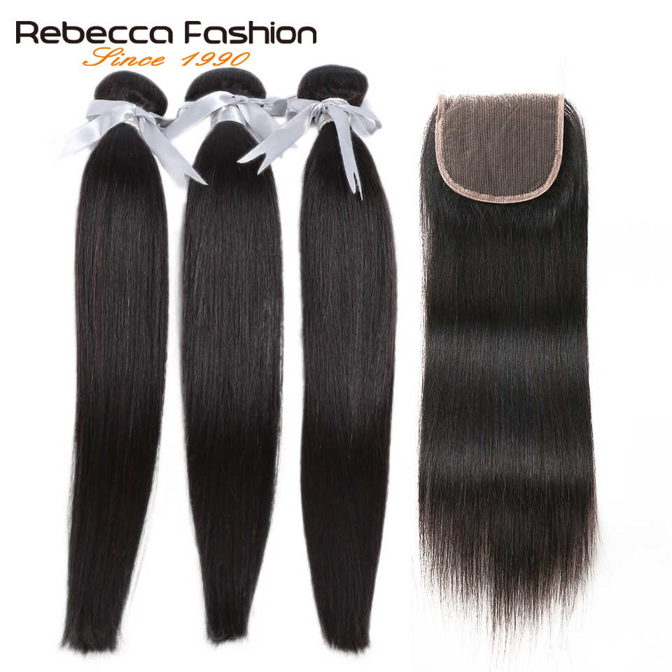 Rebecca Malaysian Straight Hair Bundles With Closure 4x4 Remy Human Hair 3 Bundles With Closure