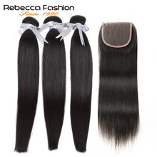 Rebecca Malaysian Straight Hair Bundles With Closure 4x4 Remy Human Hair 3 Bundles With Closure(China)