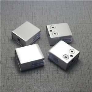 Image 3 - 4Pcs Stainless Steel Square Clamp Holder Bracket Clip For Glass Shelf Handrails Silver