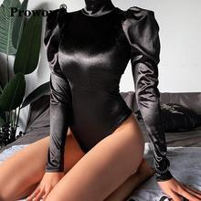 Prowow Black Satin Sexy Bodysuit Women Long Princess-Sleeve Stand Collar Back Zip Cotton Solid Color Bodysuits 2020 New