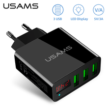 USAMS USB Ladegerät Schnell Ladung für iPhone 11 7 Xiaomi Samsung Huawei 5V 3A Digital Display Schnelle Lade Mobile telefon Ladegerät
