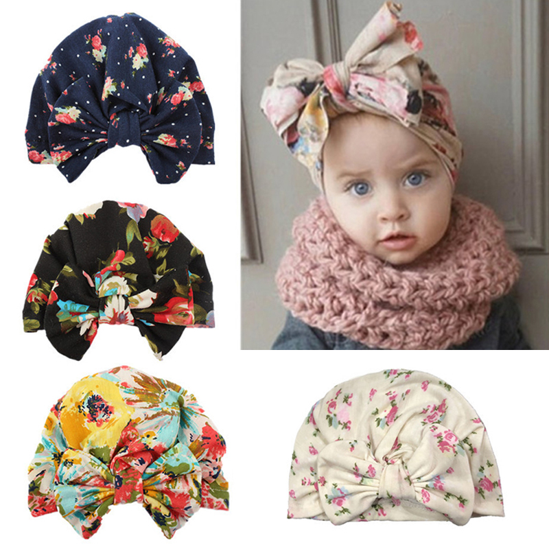 Cute Newborn Baby Cotton Turban Beanie Cap Hat Big Bowknot Kids Floral Print Warm Toddler Turban Bonnet Hair Accessories Cap Hat
