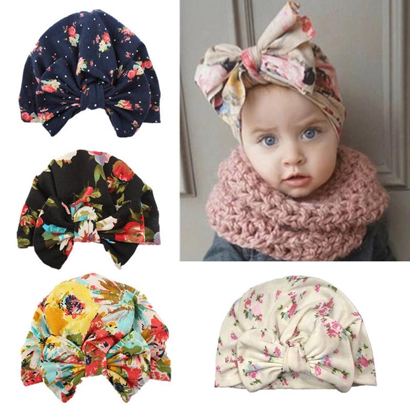 Cute Newborn Baby Cotton Turban   Beanie   Cap Hat Big Bowknot Kids Floral Print Warm Toddler Turban Bonnet Hair accessories Cap Hat