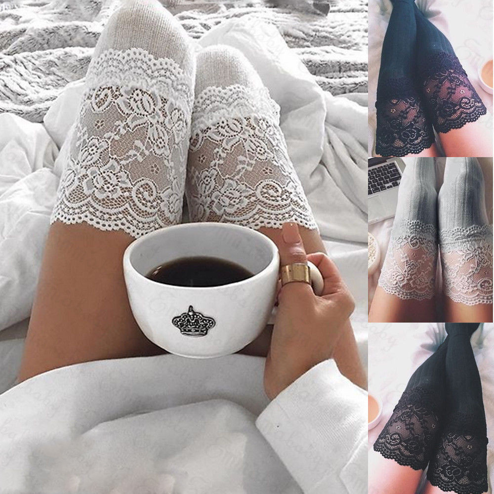 2020 Fashion Women Sexy Long Tights For Girls Cotton Cute Stockings Women Stockings Lace Trim Thigh High Over The Knee Stockings