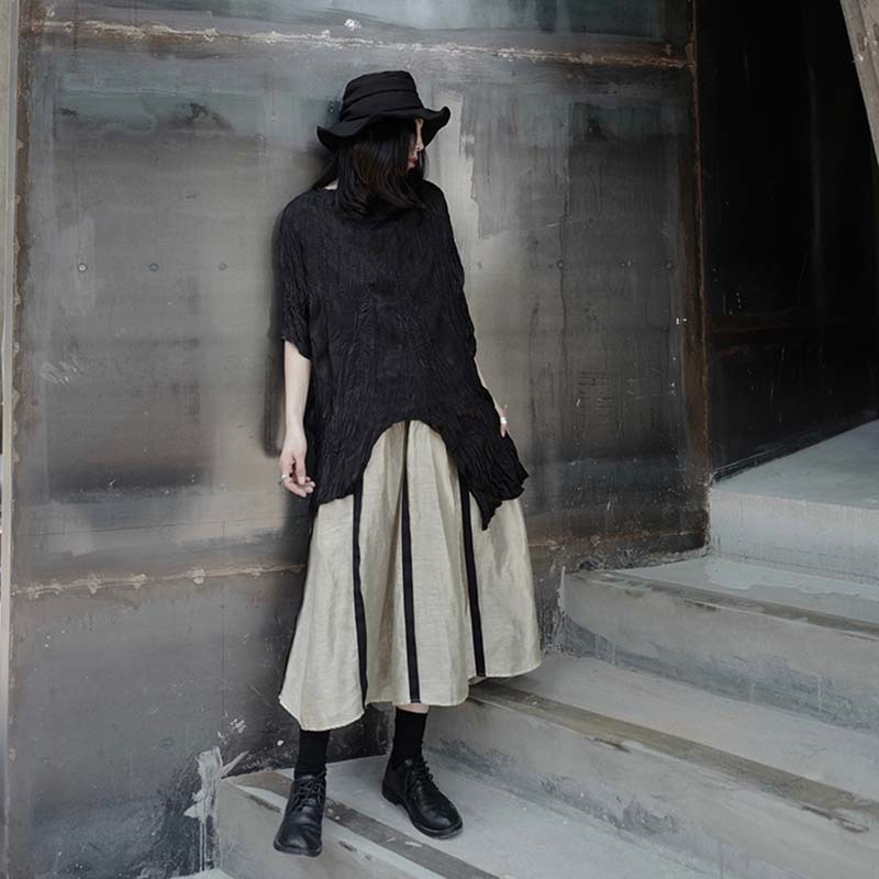 [EAM] Women Black Pleated Irregular Split Big Size T-shirt New Round Neck Half Sleeve  Fashion Tide  Spring Summer 2020 1W318 5