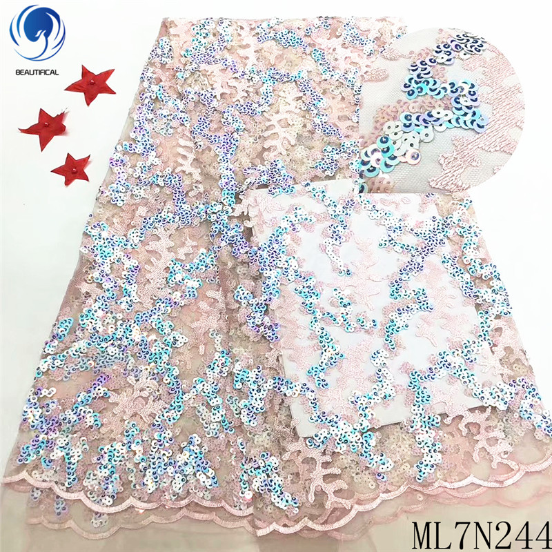 Beautifical african lace fabrics Fashion embroidery sequins lace fabric for dress 5yards nigerian tulle lace fabric ML7N244