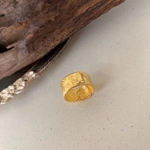 Image 5 - Silvology 925 スターリングシルバー不規則なワイドリングゴールド高品質箔紙ファッショナブルな女性シルバージュエリーギフト