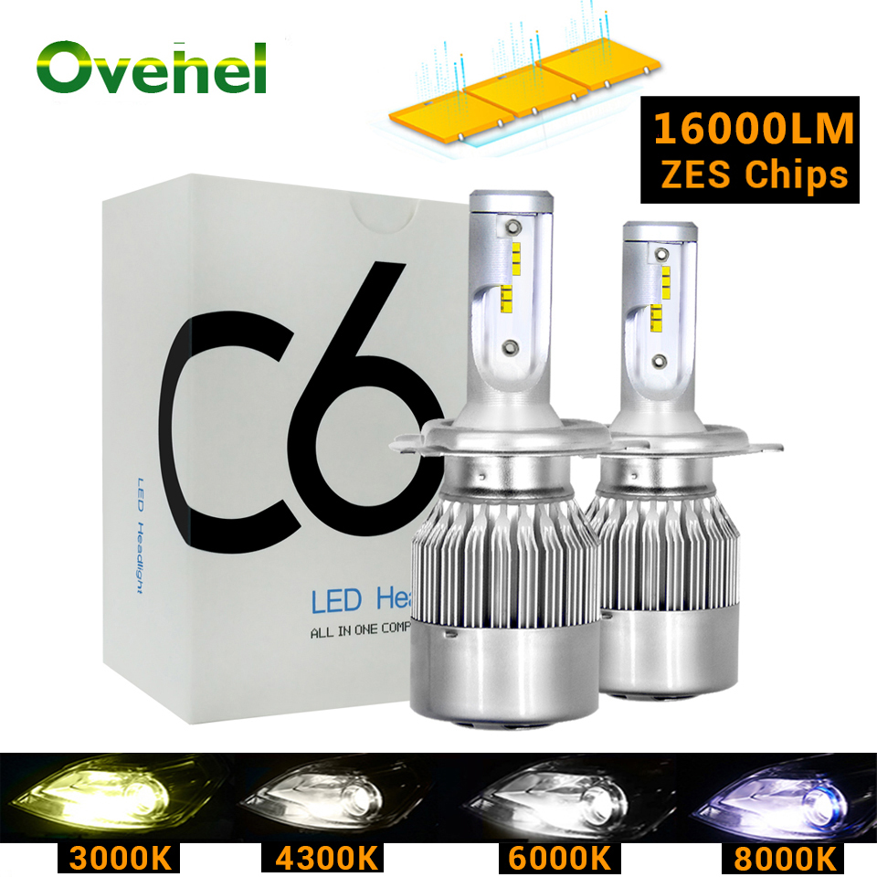 Ovehel <font><b>Led</b></font> H4 ZES Chips Car <font><b>Headlight</b></font> Bulbs H7 <font><b>LED</b></font> <font><b>H1</b></font> <font><b>LED</b></font> H11 H8 HB3 9005 HB4 Lamp 6000K 4300K 3000K 12V 16000LM <font><b>C6</b></font> Plus image