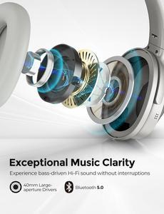 Image 5 - Mpow h12 fone de ouvido sem fio 2 em 1, headset híbrido bluetooth 5.0 com cancelamento de ruído ativo, tempo de reprodução 30h trabalho de viagem