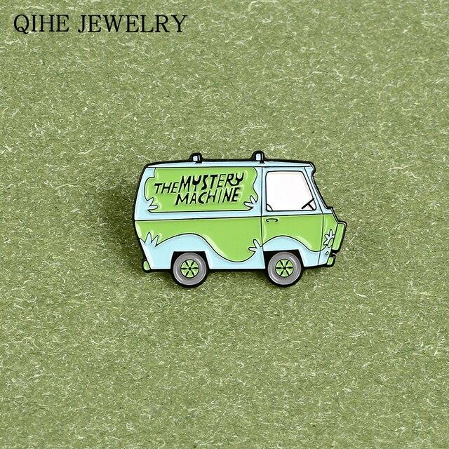 Broche de Bus de voyage vert la Machine de mystère épinglettes émail personnalisé dessin animé épinglette Badge bijoux de mode cadeau pour les femmes hommes