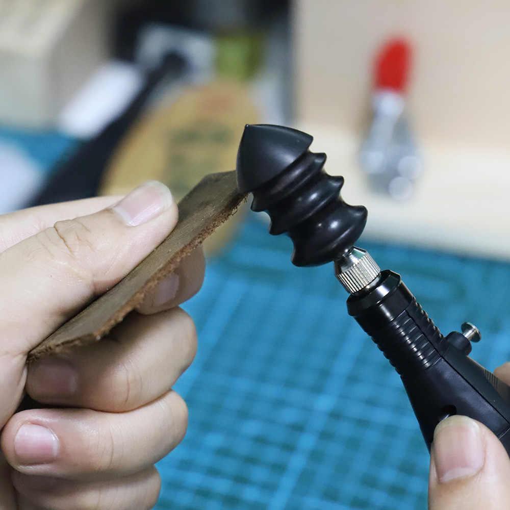 Diy elétrica polido borda redonda aparar ferramenta de couro slicker plana/cabeça afiada sândalo couros artesanato ferramentas ponta burnisher