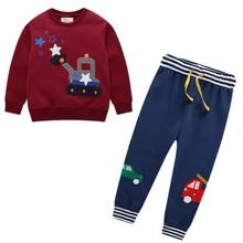 Zestawy ubrań dla chłopców jesienno zimowa kreskówka z nadrukiem w samochody bawełniane chłopięce stroje z długim rękawem spodnie dla dzieci