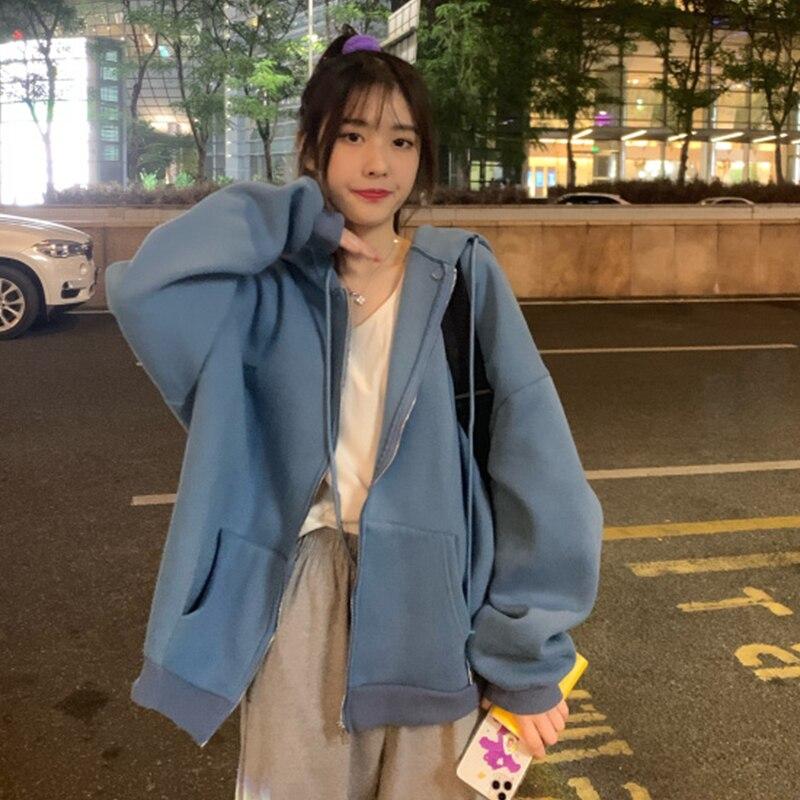 Kawaii Butterfly Zip Up Long Sleeve Summer Sweatshirts 2021 Spring Oversized Hoodies Women Cotton Black Streetwear GrayTops 10