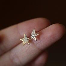 Boucles d'oreilles créatives françaises en argent Sterling 925, étoile cassée, cristal Pavé, tendance, bijoux de fête, accessoires