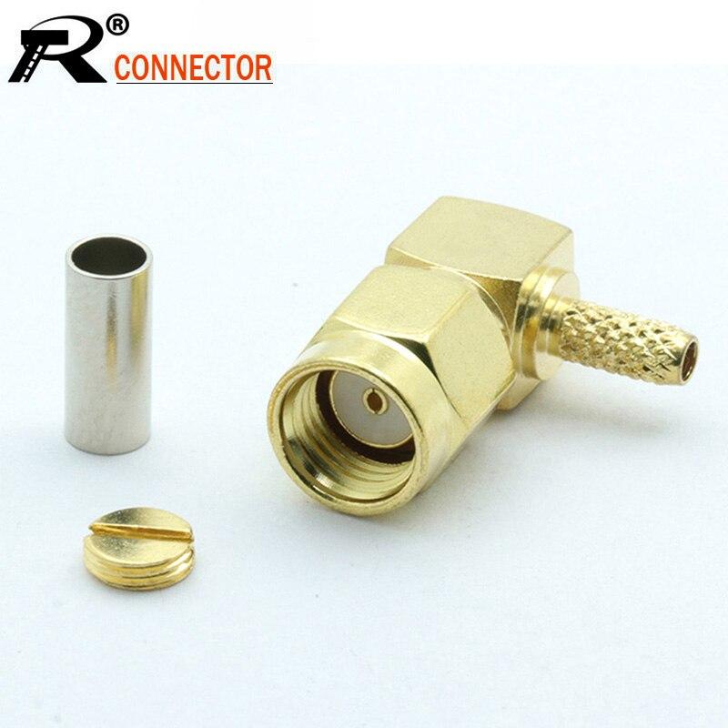 10 pçs/lote banhado a ouro ângulo direito RP-SMA masculino rf conector 90 graus rp sma macho adaptador para rf cabo coaxial rg316 rg178