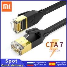 Xiaomi cat7 cabo ethernet liso gigabit cobre puro blindado rede jumper roteador de computador, computador portátil 0.2m0.3m0.5m50m