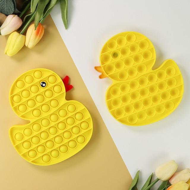 Yellow Duck Animals Fidget Toy Push Bubble Stress Sensory Toy 3