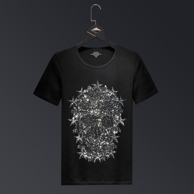 Plus Size <font><b>6XL</b></font> 2019 Skull Rhinestones T Shirts Men Brand Short Sleeve Fashion Man Streetwear O Neck Slim Tshirts Camisas <font><b>Hombre</b></font> image