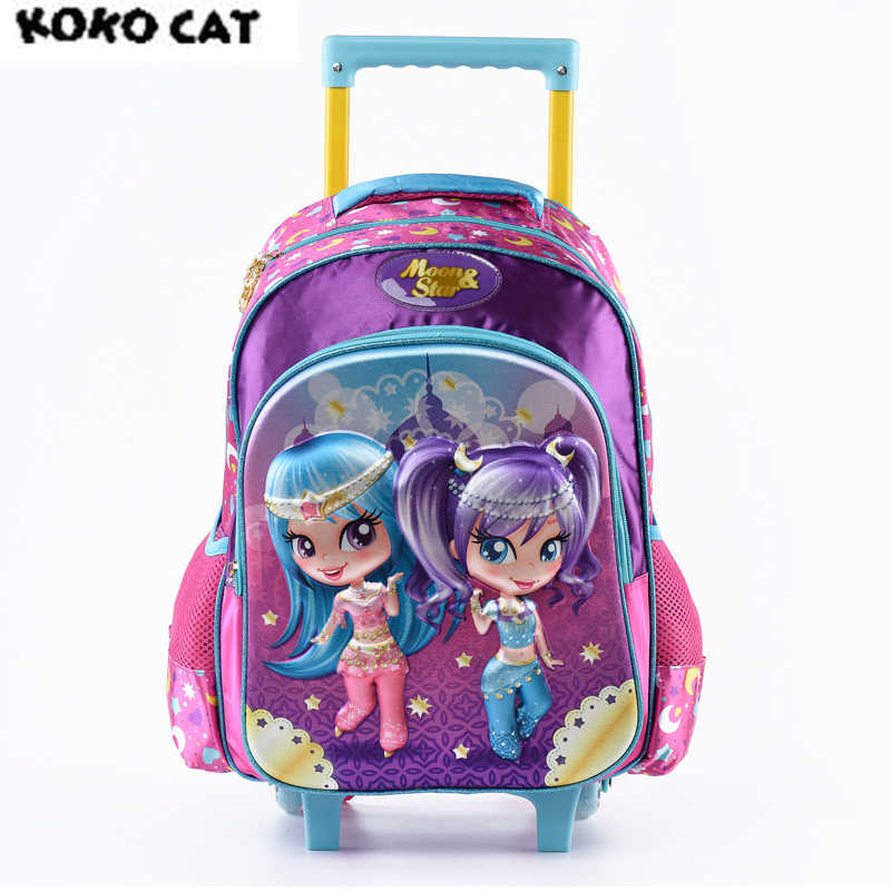 Cartoon 3D Kids Children School Trolley Bag Handsome Girl Bags Girls Bookbag  School Trolley Bag for Teen Girls Student Bag