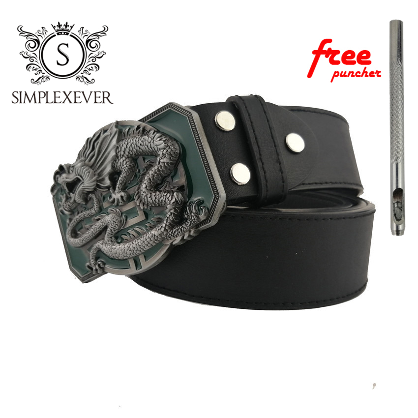 Men's Metal Dragon Belt Buckle Fashion Cowboy 3D Animal Belt Buckles Boucle Ceinture For 3.8-4cm PU Leather Belts