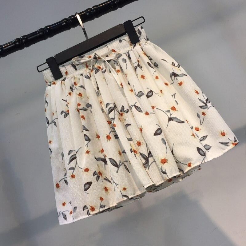 Sweet Women's Floral Shorts Casual High Waist Wide Leg Summer Harajuku Chiffon Teen Girls Small Fresh Shorts Preppy Style Korean