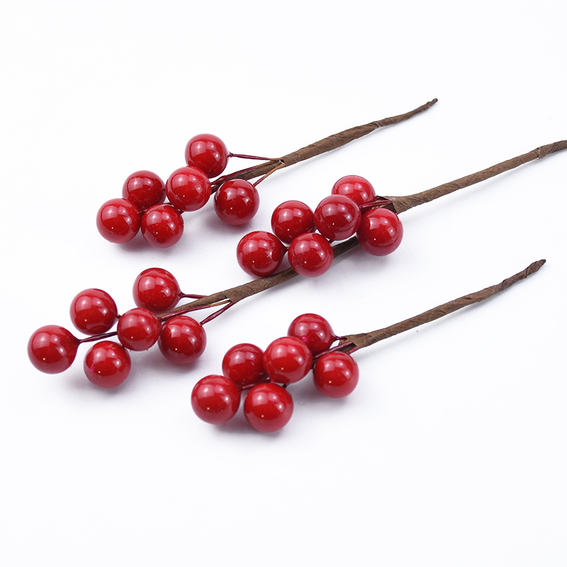 5/10pcs Fake Plant Festive Weedding Bride Brooch Berries Creative Diy Gifts Box Shoot Red Berries Home Decor Christmas Wreath