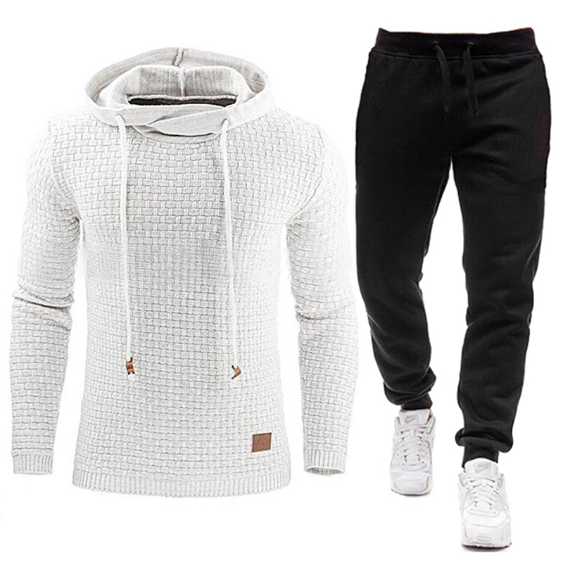 2020 New Tracksuit Men Brand Male Solid Hooded Sweatshirt+Pants Set Mens Hoodie Sweat Suit Casual Sportswear S-5XL Free Shipping