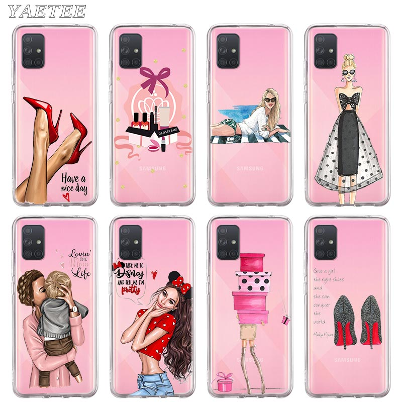 Pretty Girl Lady High-Heels Relax Beach Phone Case for Samsung Galaxy A10 A20 A30 A40 A50 A70 A51 A71 5G A21 A31 A41 A11 Cover image