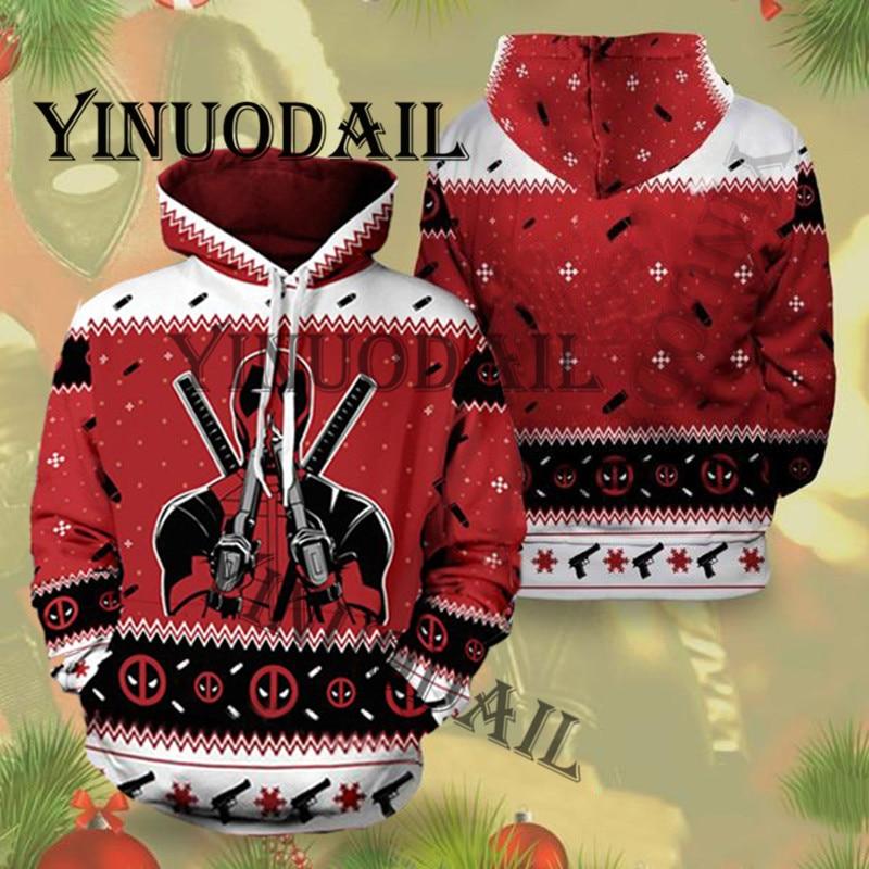 Christmas  Deadpool Marvel 3D Hoodies Men Streetwear Hip Hop Warm Hooded Sweatshirts Men Casual Spiderman Hoodies Men Clothes