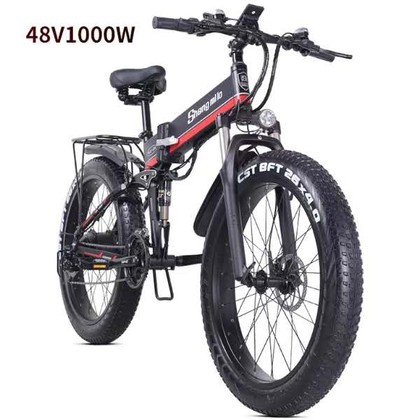 Folding Electric Bicycle E-Bike electric atv snowmobile mountain bike 48V 1000W Light aluminum body 4.0 Fat tire