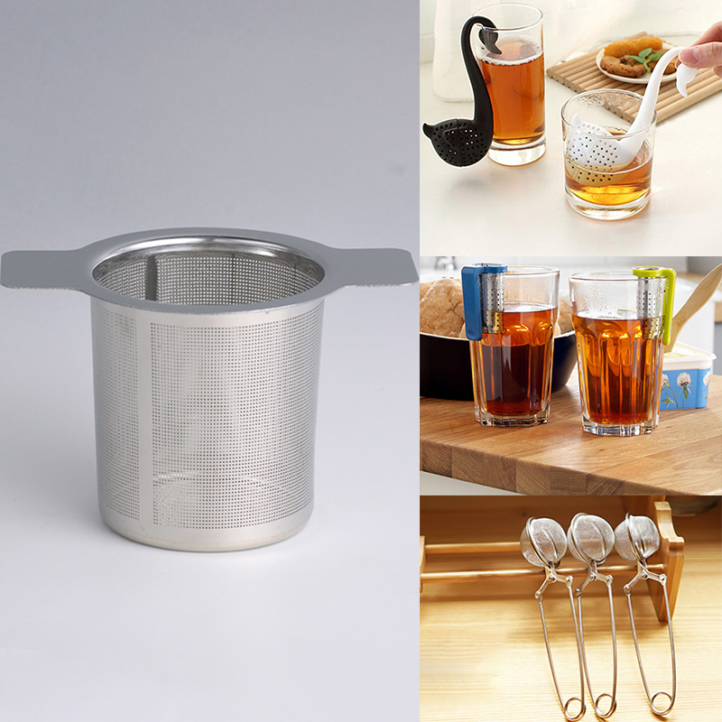 1PCS Mesh Tea Infuser Stainless Steel Swan Shark Tea Strainer Metal Bag Filter Coffee Herb Spice Filter Diffuser Handle Tea Ball