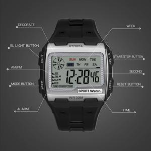 Image 4 - SYNOKE Fashion Mens Square Digital Watch Luminous Outdoor Sports Waterproof Man Watch LED Display Multifunctional Wristwatch