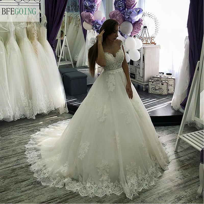 White Lace Tulle Scoop Sleeveless Floor-Length A-line Wedding Dress Bridal Gown Chapel Train Custom Made