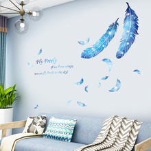 Removable Blue Feather Wall Stickers for Living room Bedroom TV Backgorund Vinyl Wall Decals PVC Self-adhesive DIY Wall Murals removable green leaf wall stickers for living room bedroom door self adhesive refrigerator diy wall decals vinyl art wall murals