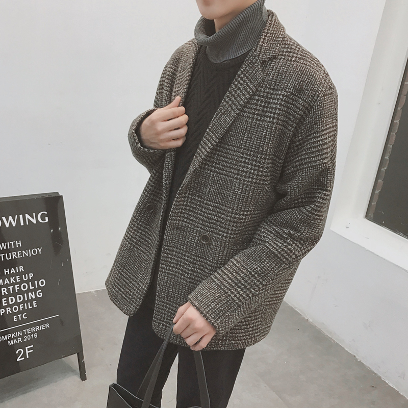Winter Short Woolen Coat Men Fashion Retro Overcoat Casual Thick Tartan Man Streetwear Loose Jacket