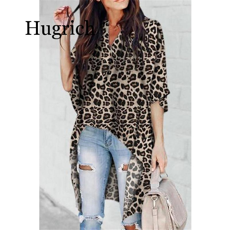 2020 Women Ladies Summer Leopard Print Chiffon Half Sleeve Casual Shirt Tops Blouse Women Blouse Top Femme Camisas Mujer