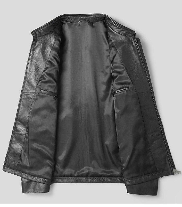Men's Leather Jacket Autumn Winter Jacket Men Genuine Sheepskin Coat Streetwear Baseball Jackets P-OB20878 MY1455