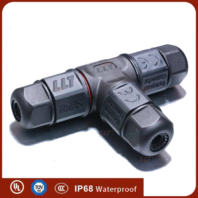 T Shape Cable <font><b>Connector</b></font> IP68 <font><b>AC</b></font> DC 25A <font><b>2</b></font> 3 4 <font><b>Pin</b></font> Electrical Waterproof Connectors Screw Locking Sealed Retardant Junction Box image