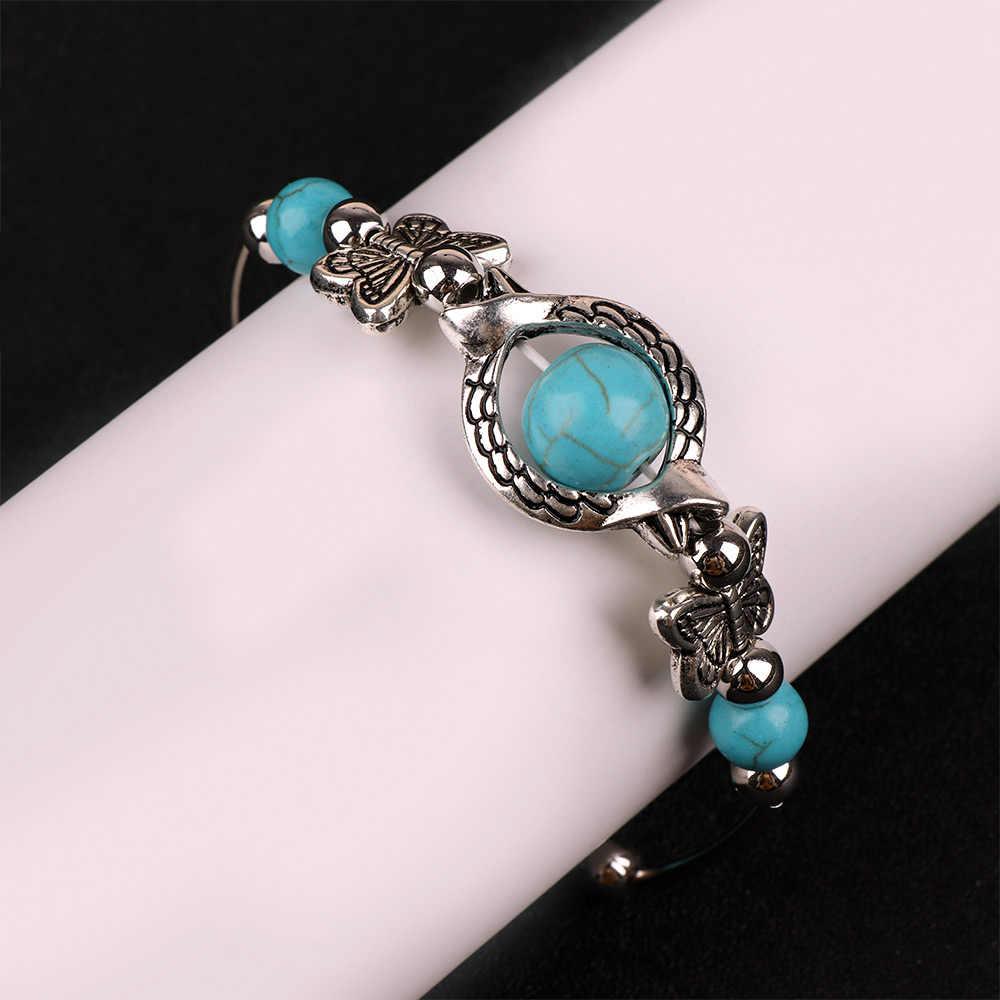 Vintage mariposa pulseras piedra verde grieta pulsera plata Color cadena brazalete mujer Boho joyería regalo