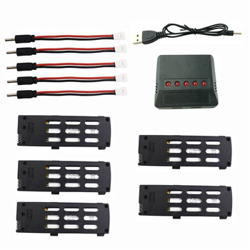 5PCS 3.7V 800mah lithium battery with 5 in 1 charger for A15 A15H folding remote drone battery