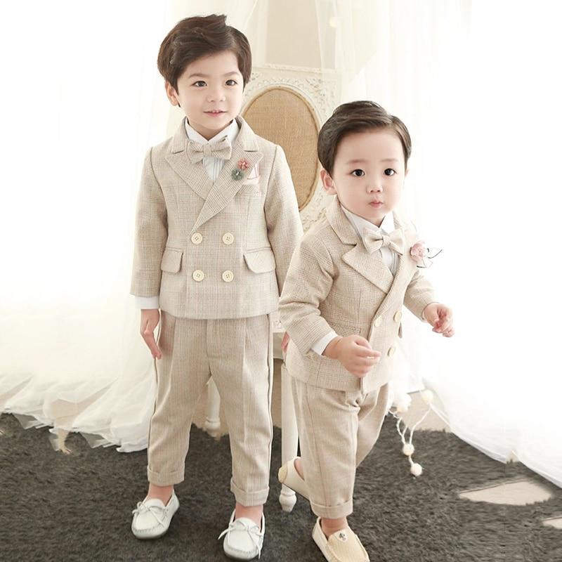 4PCS Little Boy Gentleman Suit Formal clothes Coat Vest Pants Tie bow Outfit Set Khaki Lattice birthday Wedding Party Dress Suit