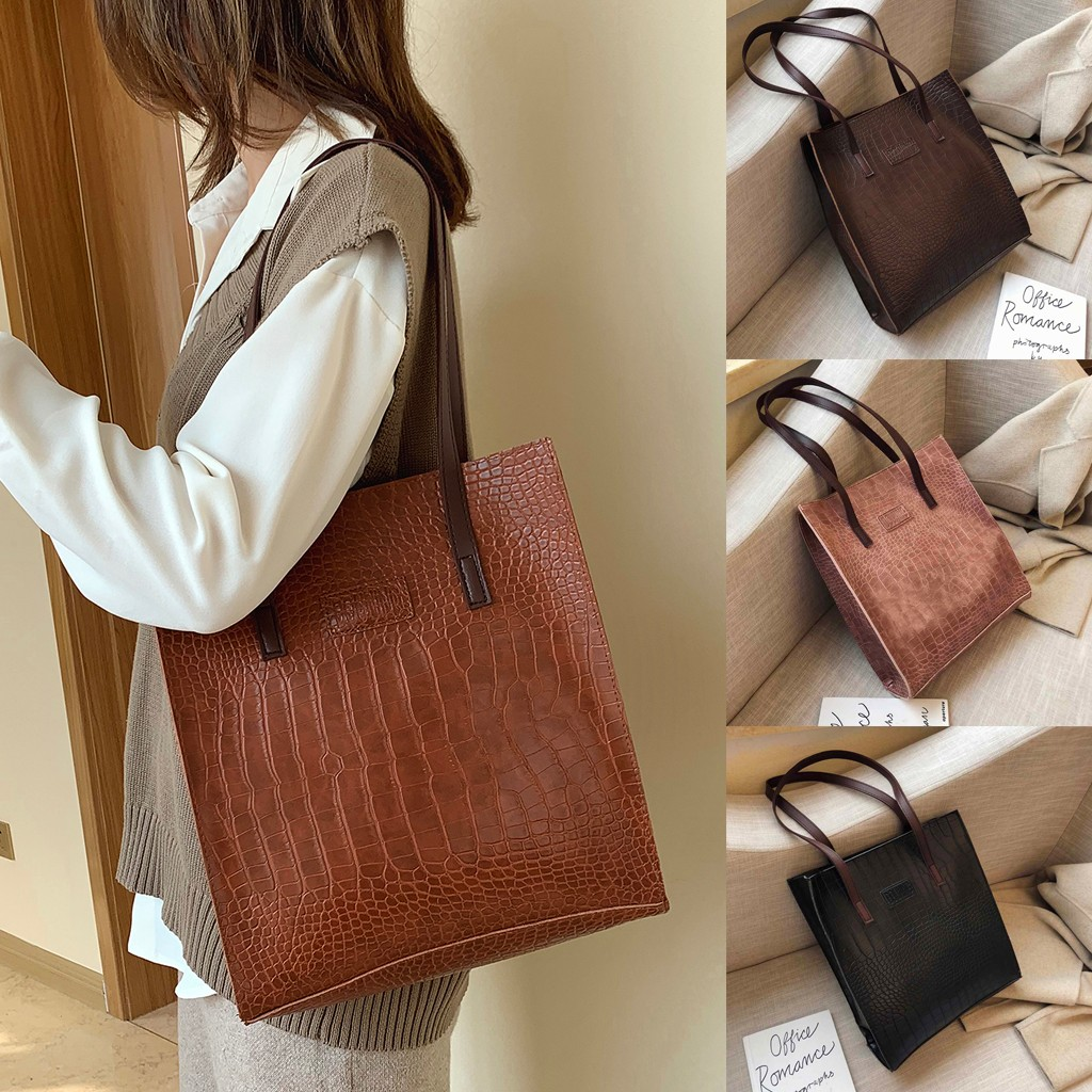 Fashion Crocodile Pattern Handbag Women Casual Tote Bags Luxury Leather Shopper Bag Ladies Large Capacity Shopping Bags 2019