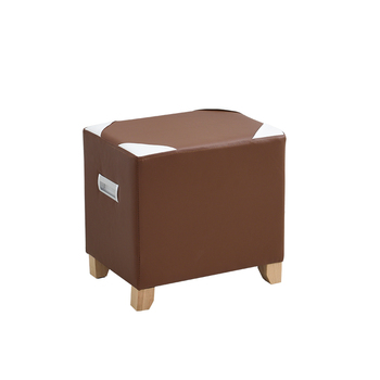 Home living room creative sofa board coffee table stool thick solid wood square small bench short Dunzi leather stool