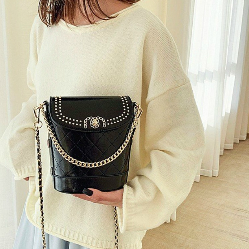 Luxury Vintage Ladies Bucket Package Tote Bags Fashion Women Chain Crossbody Bags Classic Solid Color Messenger Bags Louis Brand