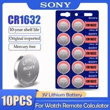 10 sztuk/partia Sony CR1632 CR 1632 LM1632 BR1632 ECR1632 3V bateria litowa do zegarka kluczyki zdalnego skala przycisk monety...